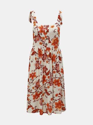 Rochie oranj-crem florala Dorothy Perkins
