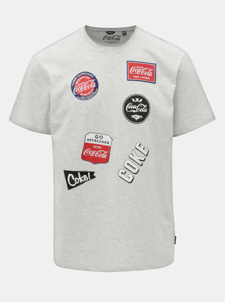 Tricou gri melanj regular fit cu imprimeu ONLY & SONS Fresh Coca Cola