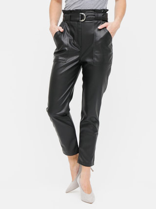 Černé koženkové kalhoty s páskem a vysokým pasem TALLY WEiJL