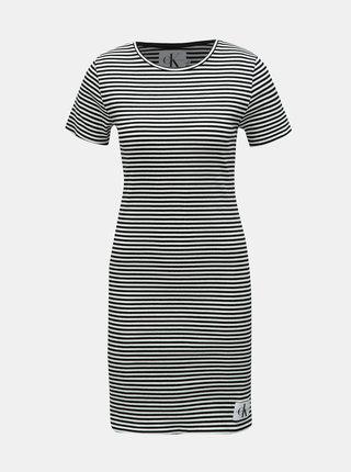 Bílo-černé pruhované pouzdrové šaty Calvin Klein Jeans