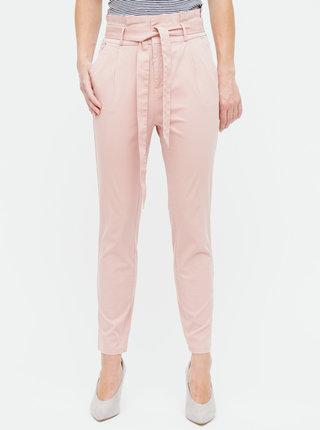 Starorůžové kalhoty s vysokým pasem VERO MODA Eva