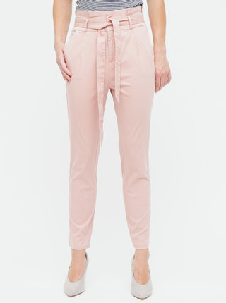 Pantaloni roz prafuit cu talie inalta VERO MODA Eva