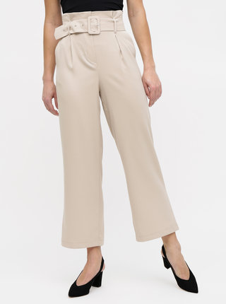 Béžové široké kalhoty s páskem a vysokým pasem TALLY WEiJL