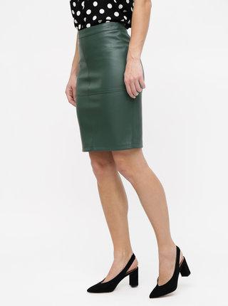 Tmavě zelená koženková sukně VILA Pen New