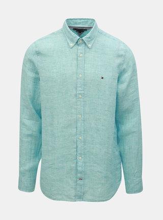 Světle modrá pánská lněná slim fit košile Tommy Hilfiger