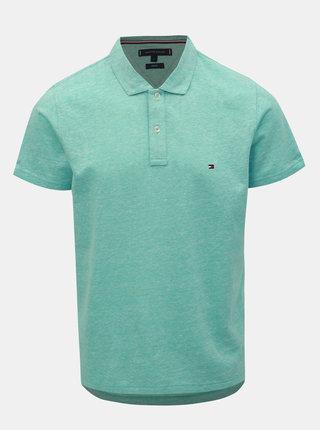 Světle modré pánské lněné basic polo tričko Tommy Hilfiger