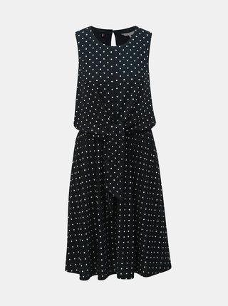 Černé puntíkované šaty se zavazováním Tommy Hilfiger Barbara