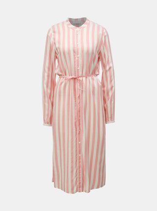 Krémovo–ružové pruhované košeľové midišaty VILA Harper