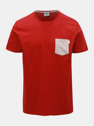 Červené slim fit tričko s kapsou Jack & Jones Boston