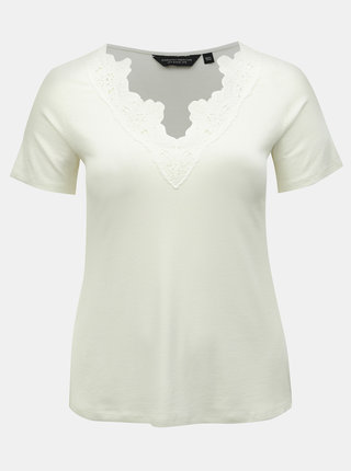 Bílé žebrované tričko s krajkou Dorothy Perkins Curve