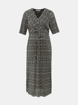Černé těhotenské plisované puntíkované šaty Dorothy Perkins Maternity