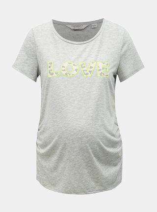 Sivé tehotenské melírované tričko Dorothy Perkins Maternity
