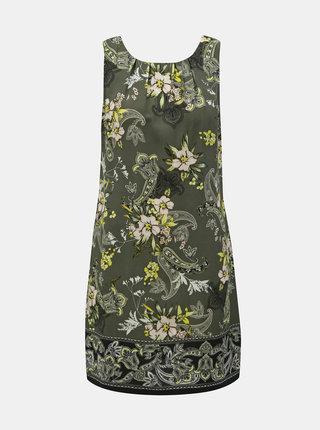 Kaki kvetované puzdrové šaty Dorothy Perkins Petite