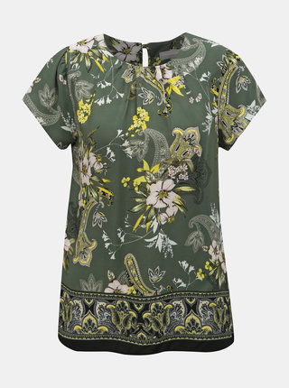 Khaki květovaná halenka Dorothy Perkins Petite