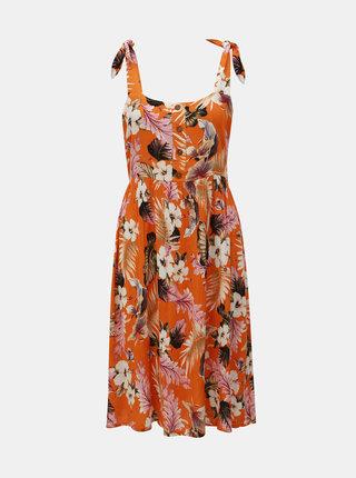 Oranžové květované šaty na ramínka Dorothy Perkins Petite