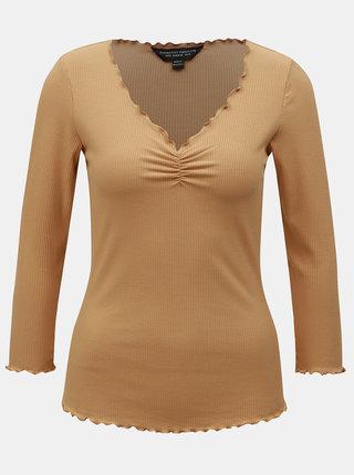 Béžové rebrované tričko s 3/4 rukávom Dorothy Perkins