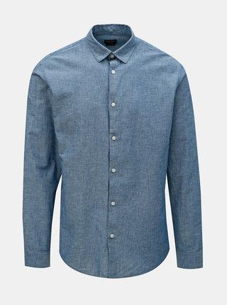 Camasa albastra regular fit cu amestec de in Selected Homme Reglinen