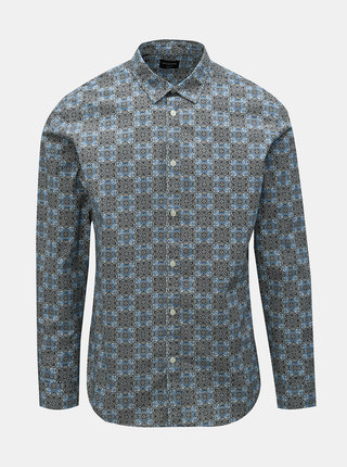 Camasa negru-albastru slim fit cu model Selected Homme Rollo