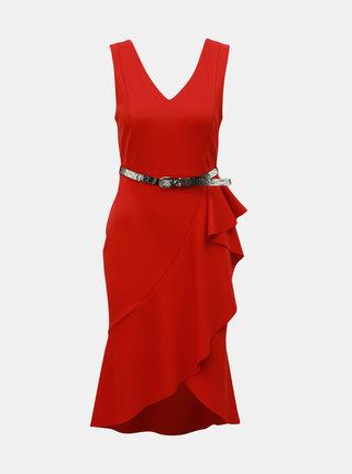 Červené puzdrové šaty s volánom Dorothy Perkins