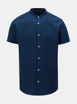 Camasa albastru inchis slim fit cu amestec de in Selected Homme