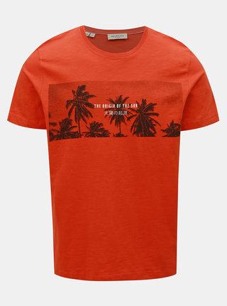 Tricou oranj cu imprimeu Selected Homme Viktor
