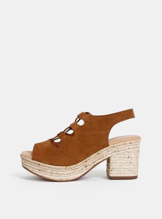 Sandale maro din piele intoarsa OJJU
