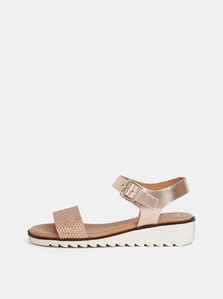 Metalické kožené sandále na plnom podpätku v ružovozlatej farbe OJJU