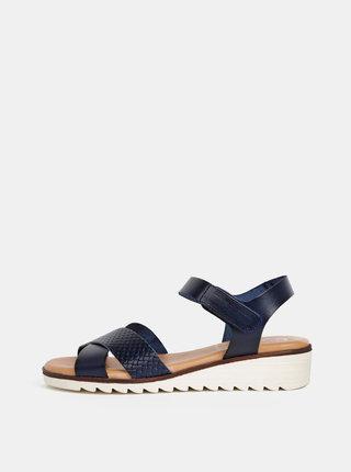 Tmavomodré kožené sandále na plnom podpätku OJJU