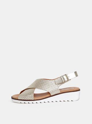 Kožené sandály na klínku ve zlaté barvě OJJU