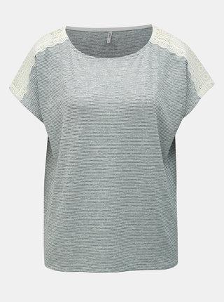 Modré pruhované tričko s čipkou ONLY Mira