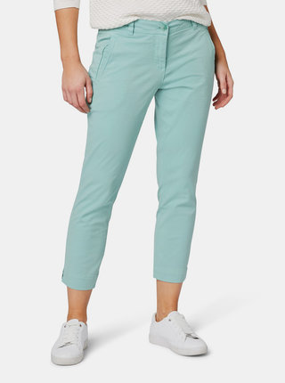 Pantaloni verde deschis slim fit chino de dama pana la glezne Tom Tailor
