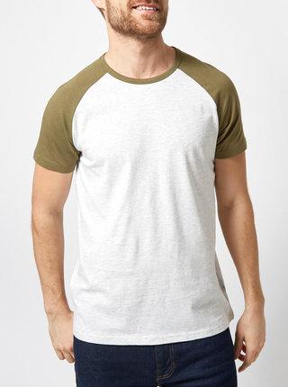 Zeleno–sivé melírované basic tričko Burton Menswear London