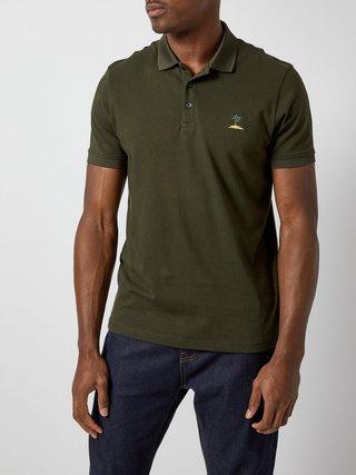 Tmavě zelené polo tričko s výšivkou Burton Menswear London