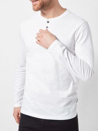 Bílé basic tričko s knoflíky Burton Menswear London