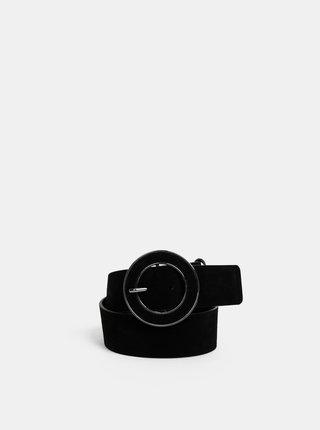 Černý kožený pásek Pieces Clea