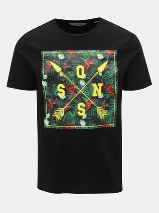 Černé tričko s potiskem ONLY & SONS Pace