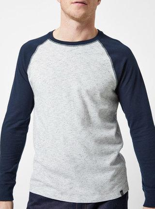 Modro–sivé melírované basic tričko Burton Menswear London