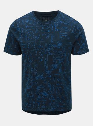 Tricou albastru inchis slim fit cu model ONLY & SONS Next