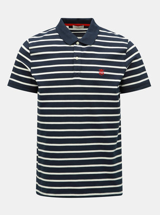 Tricou polo albastru inchis in dungi Selected Homme