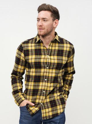 Čierno–žltá kockovaná slim fit košeľa Selected Homme Hansi