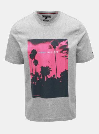 Šedé pánské žíhané tričko s potiskem Tommy Hilfiger Palm Photo