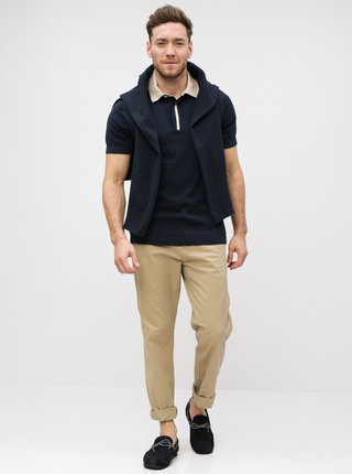 Tricou polo albastru inchis Selected Homme Contrast