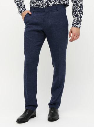 Tmavě modré oblekové slim fit kalhoty s příměsí vlny a lnu Selected Homme Bufallo