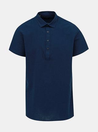Camasa albastru inchis regular fit cu amestec de in Selected Homme Regtune