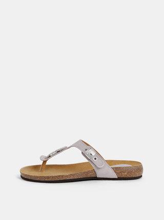 Papuci flip-flop gri din piele intoarsa Scholl Bimini