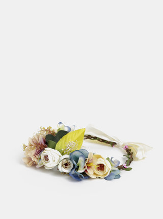 Růžovo-krémová květovaná čelenka VERO MODA Bes
