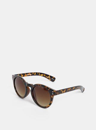 Hnedé vzorované okrúhle slnečné okuliare VERO MODA Carol
