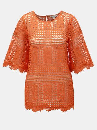 Oranžový čipkovaný top Miss Selfridge