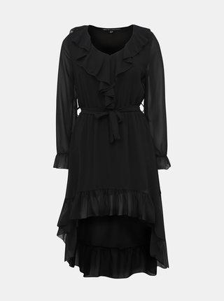 Černé šaty s volánem Mela London