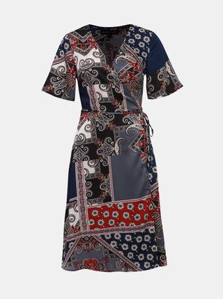 Modro–sivé vzorované zavinovacie šaty Mela London